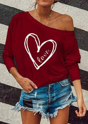Love Print Round Collar Casual Long Sleeve T-Shirt - Melonpook