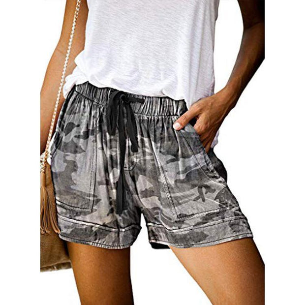 Casual high waist elastic lace-up printed shorts