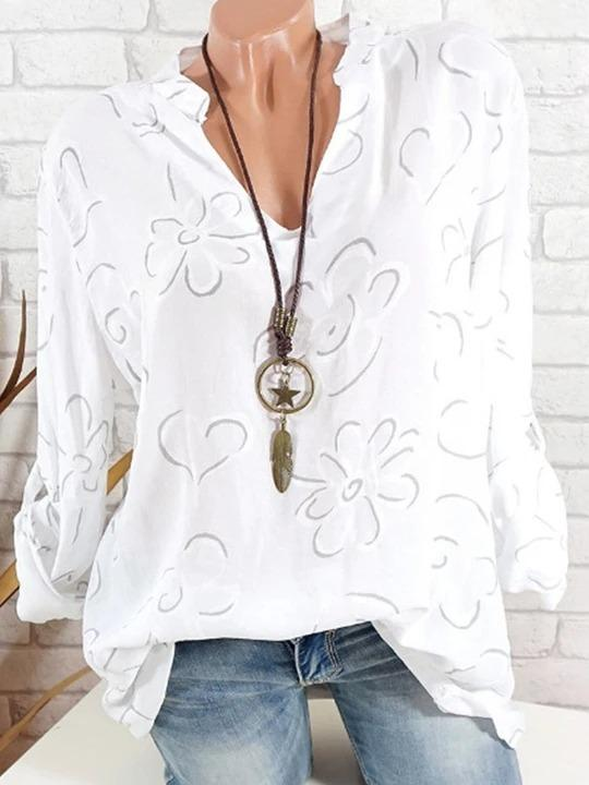 2019 New V Neck Loose Fitting Print Blouses