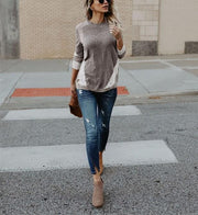 Casual Color Matching Loose Slim Knit Tops Blouse