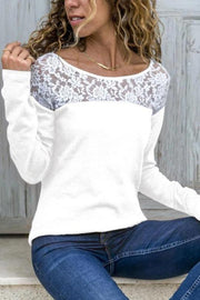 Round Neck Lace Patchwork T-Shirts Regular price - Melonpook