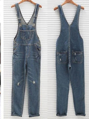 Denim Kangaroo Pocket Jumpsuits