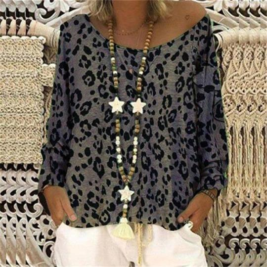 Casual Round Collar Leopard Printed Loose Top