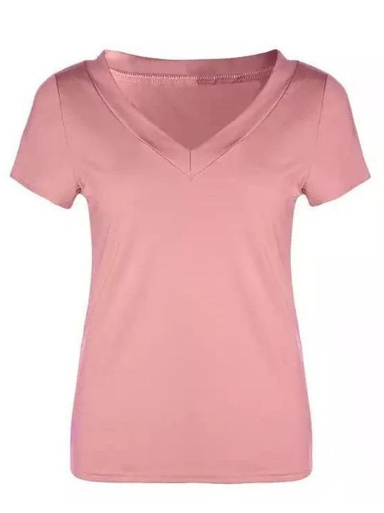 Solid Color Round Neck Tight Sexy T-Shirt - Melonpook