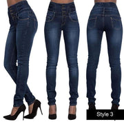 High Waisted Button Skinny Jeans