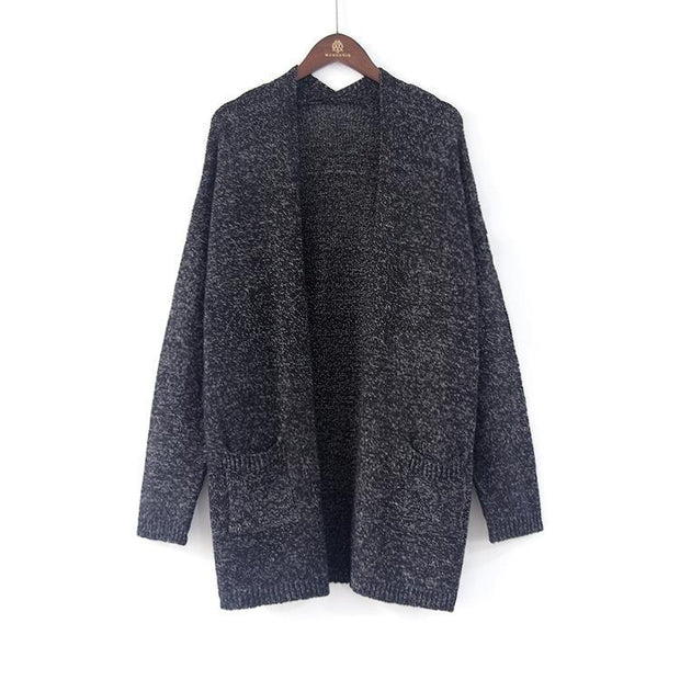 Women's Long Gray Knit Cardigan