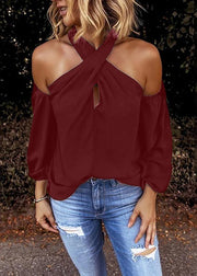 Halter Solid Off Shoulder Long Sleeve Blouses - Melonpook