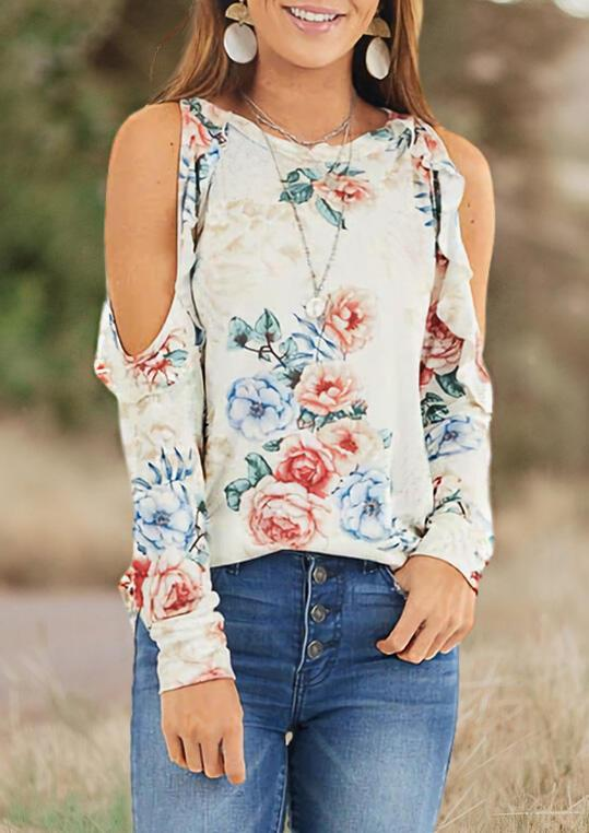 Floral Cold Shoulder Blouse without Necklace - Cream