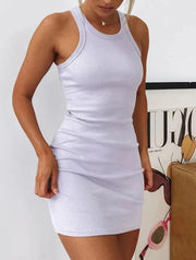 Solid color casual sexy vest dress