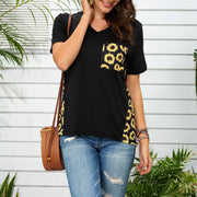Sunflower Printed V-neck casual short-sleeved T-shirt