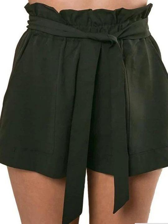 Solid Color Belt Loose Shorts Regular price