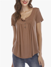 Pull-up button loose short-sleeved T-shirt top