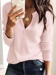 White V Neck Long Sleeve Knitted Solid Shirts & Tops