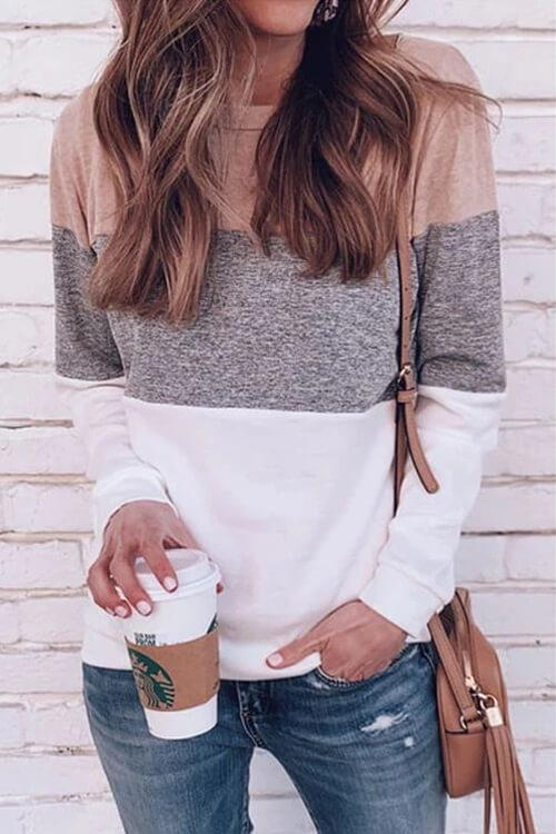 Color Block Long Sleeve T-Shirts