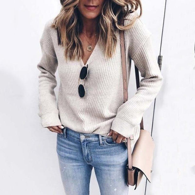 Solid V-Neck Knitted Sweater without Necklace