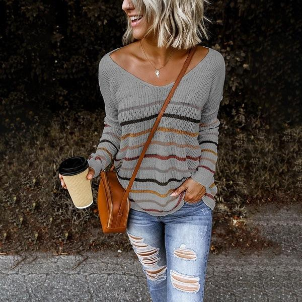 Women Lightweight Striped Sweaters Fall Jumpers Sweater