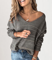 Stripe Leisure Long Sleeve Sweater  V-neck Collar Tops