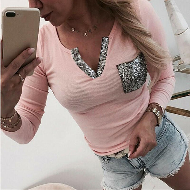 Solid Color Long Sleeves V-neck Panel Sequined Top