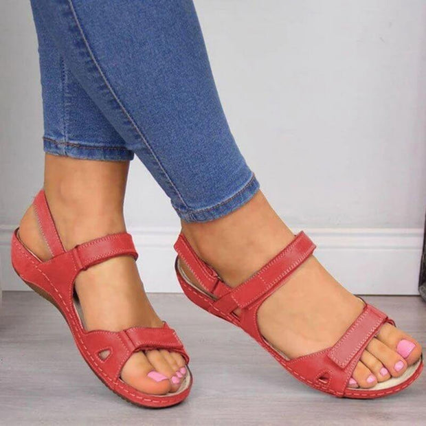 Solid Color Magic Tape Sandals