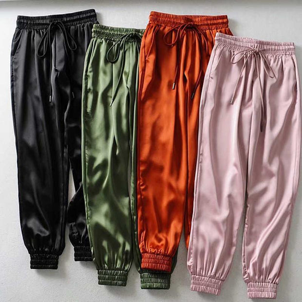 Women Streetwear Satin Cargo Sweatpants