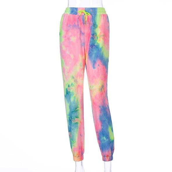 Women High Waist Graphic Neon Tie-dyed Sweatpants - Melonpook