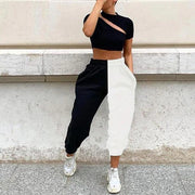 Black and White High Waist Streetwear Sweatpants - Melonpook