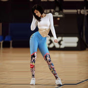 Cartoon Comic Style 3D Print Push Up Workout Fitness Slim Tights - Melonpook