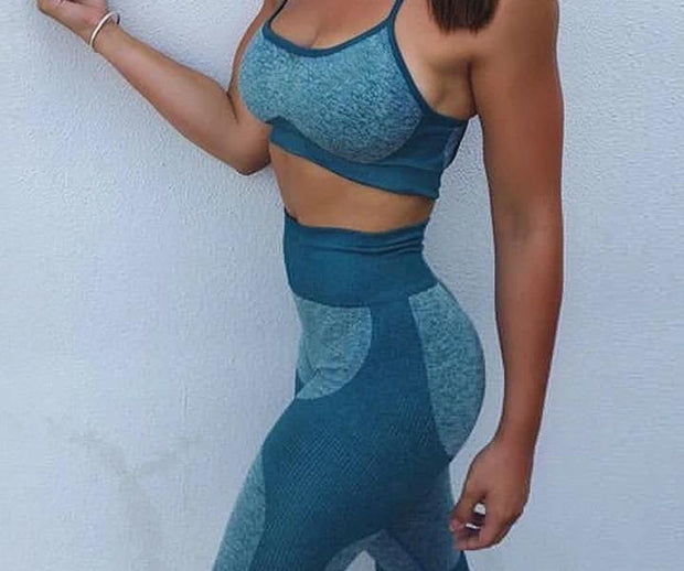 High Waist Seamless Sync Patchwork Workout 2 Piece Set - Melonpook