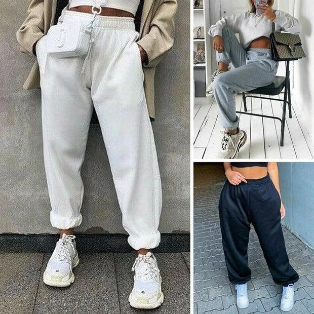 Women Casual Sport Pants Solid Running Jogger - Melonpook