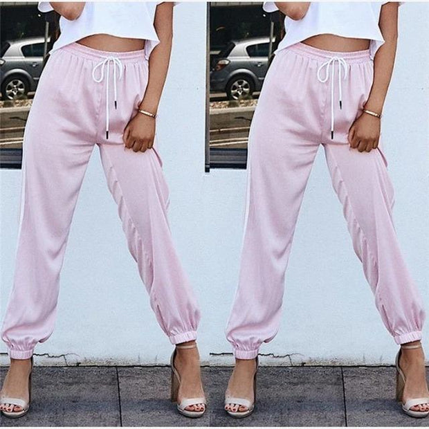 Fashion Women Side Striped Long Sweatpants - Melonpook
