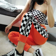 Women Side Checkerboard Design Zipper Split Sweatpants - Melonpook