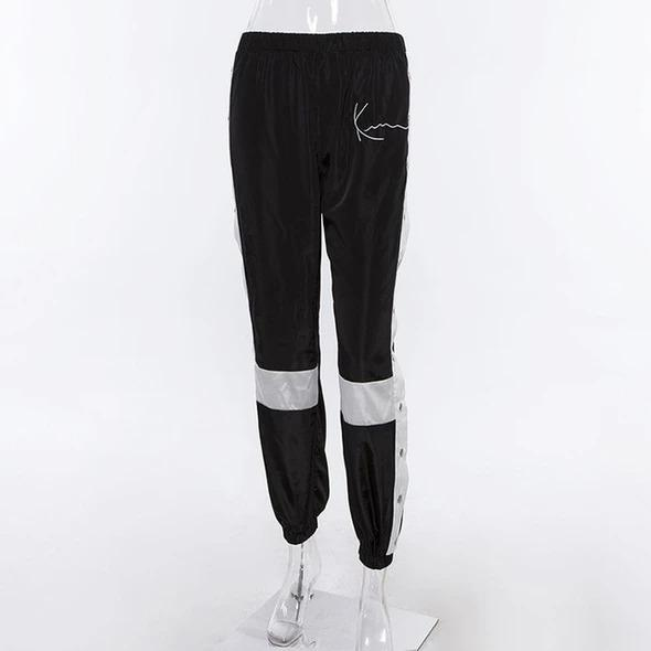 Women Fashion Patchwork Side Split Button Sweatpants - Melonpook