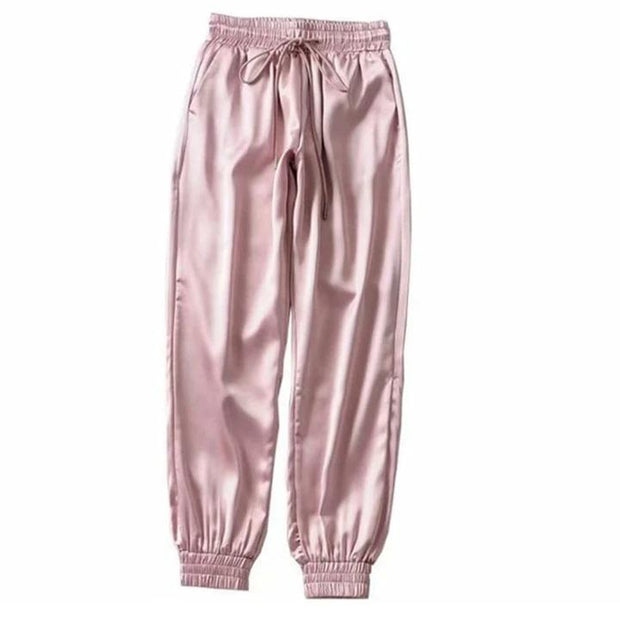 Women Streetwear Satin Cargo Sweatpants - Melonpook