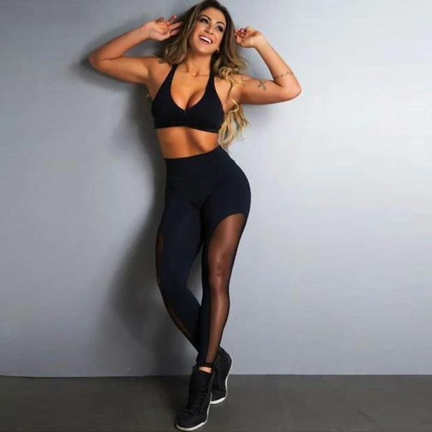 Exclusive Black Mesh Push Up Fitness Leggings - Melonpook