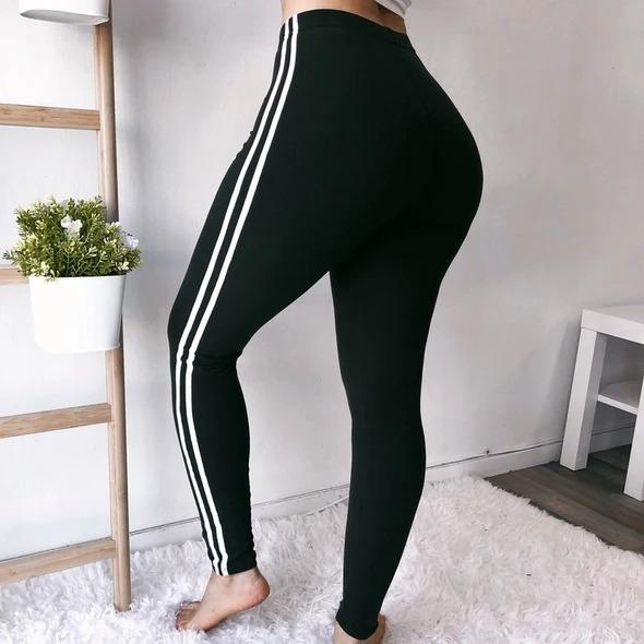 Striped Taped Workout Leggings - Melonpook