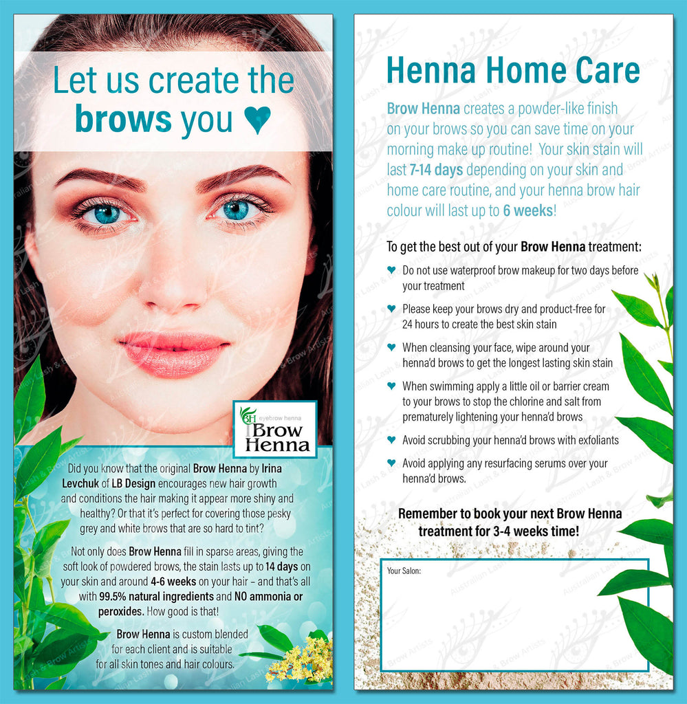 Brow Henna Customer Dl Flyer 100 Pack Australian Lash Brow Artists