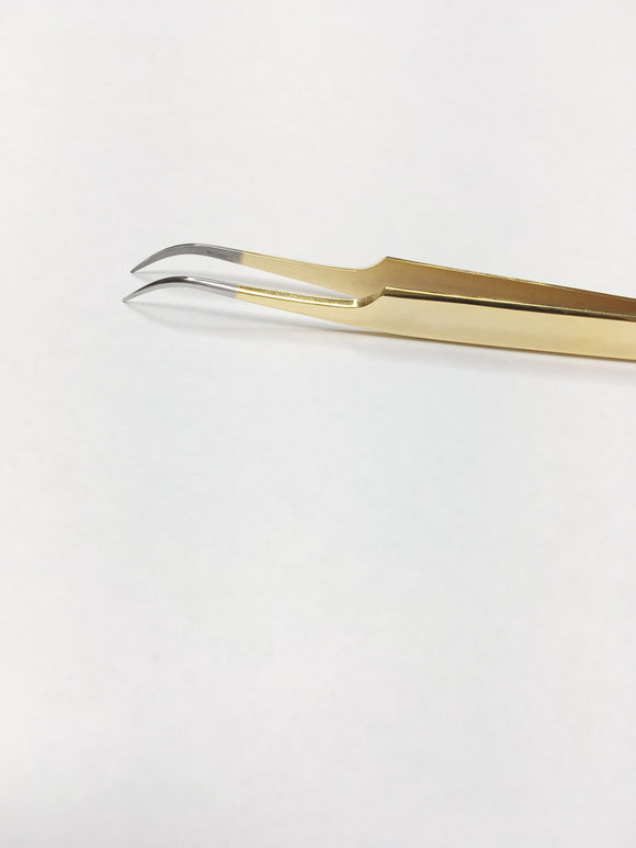 ALABA Gold (clear tip) Curved Volume Tweezer