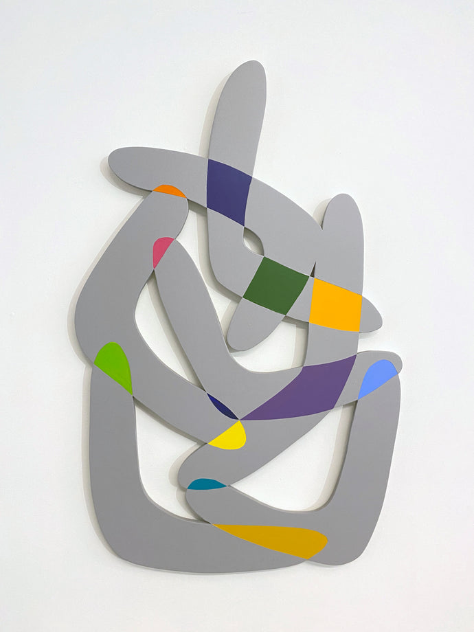 Fred Bendheim, mountain Wandering Boomerangs, acrylic on shaped PVC board 35 × 23 in, 2016