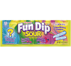 Lik-M-Aid Fun Dip Sour - 3 Flavor Strip (Strawberry/Watermelon/Mystery)