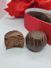 Load image into Gallery viewer, Sweet Shop Satin Heart Shaped Box - Double Chocolate Fudge Love Truffles 6 Piece