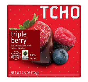 Tcho Chocolate Bar - Triple Berry - Dark Chocolate