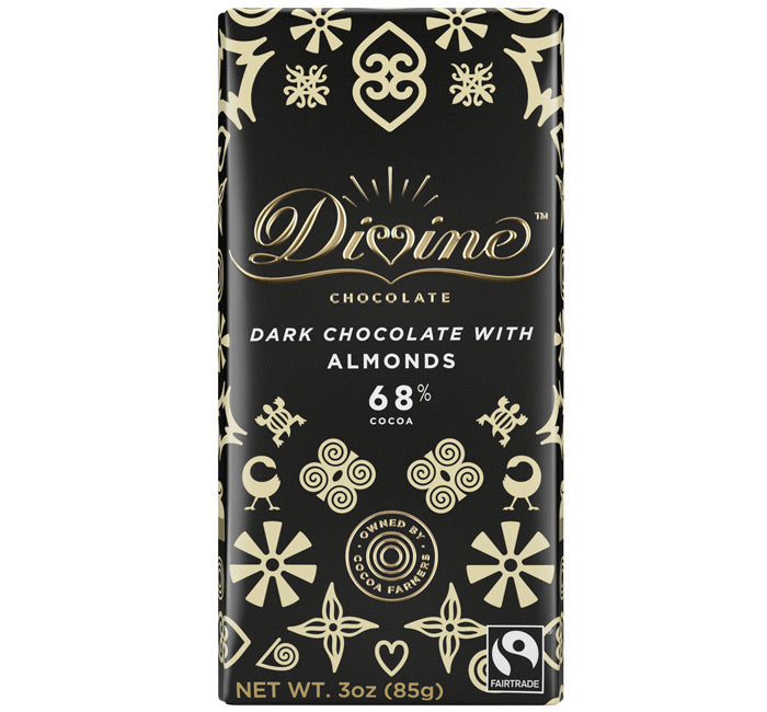 Divine Chocolate Bar 68% Whole Almonds - Dark