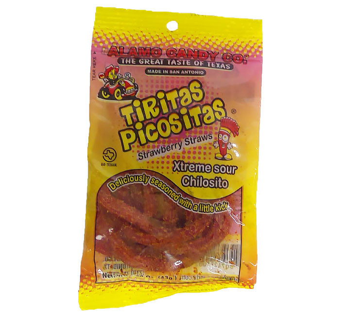 Alamo Candy - Tiritas Picositas - Sour Strawberry Straws