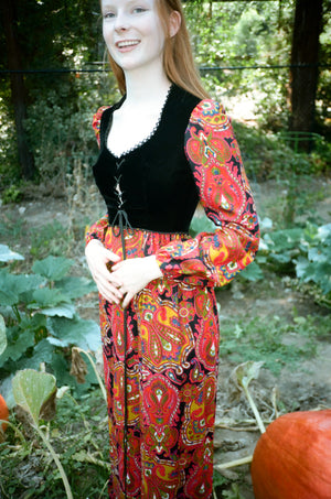vintage 1970s 70s young innocent arpeja corset prairie maxi dress full length gown
