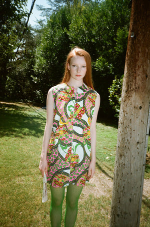 vintage 1960s 60s psychedelic acid trip shift mini dress