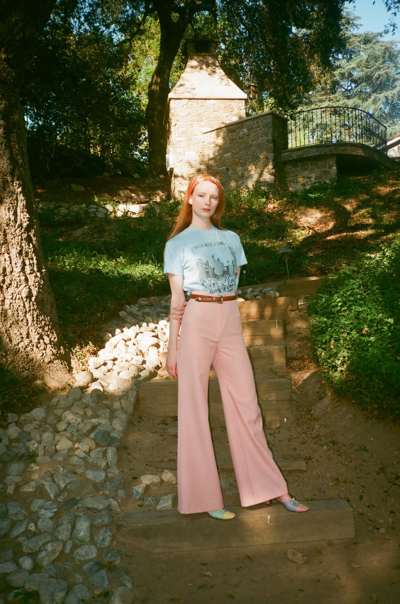 vintage 1970s 70s high waisted wide leg blush pink flared pants trousers