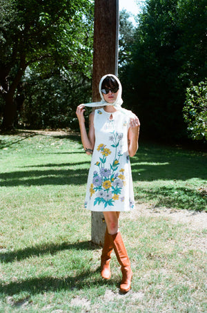 vintage 1960s 60s shift linen mini dress floral