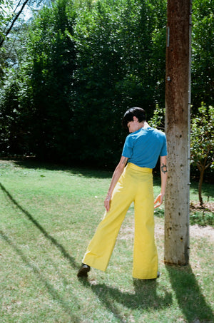 vintage 1960s 60s yellow high waisted wide leg elephant flared pants trousers