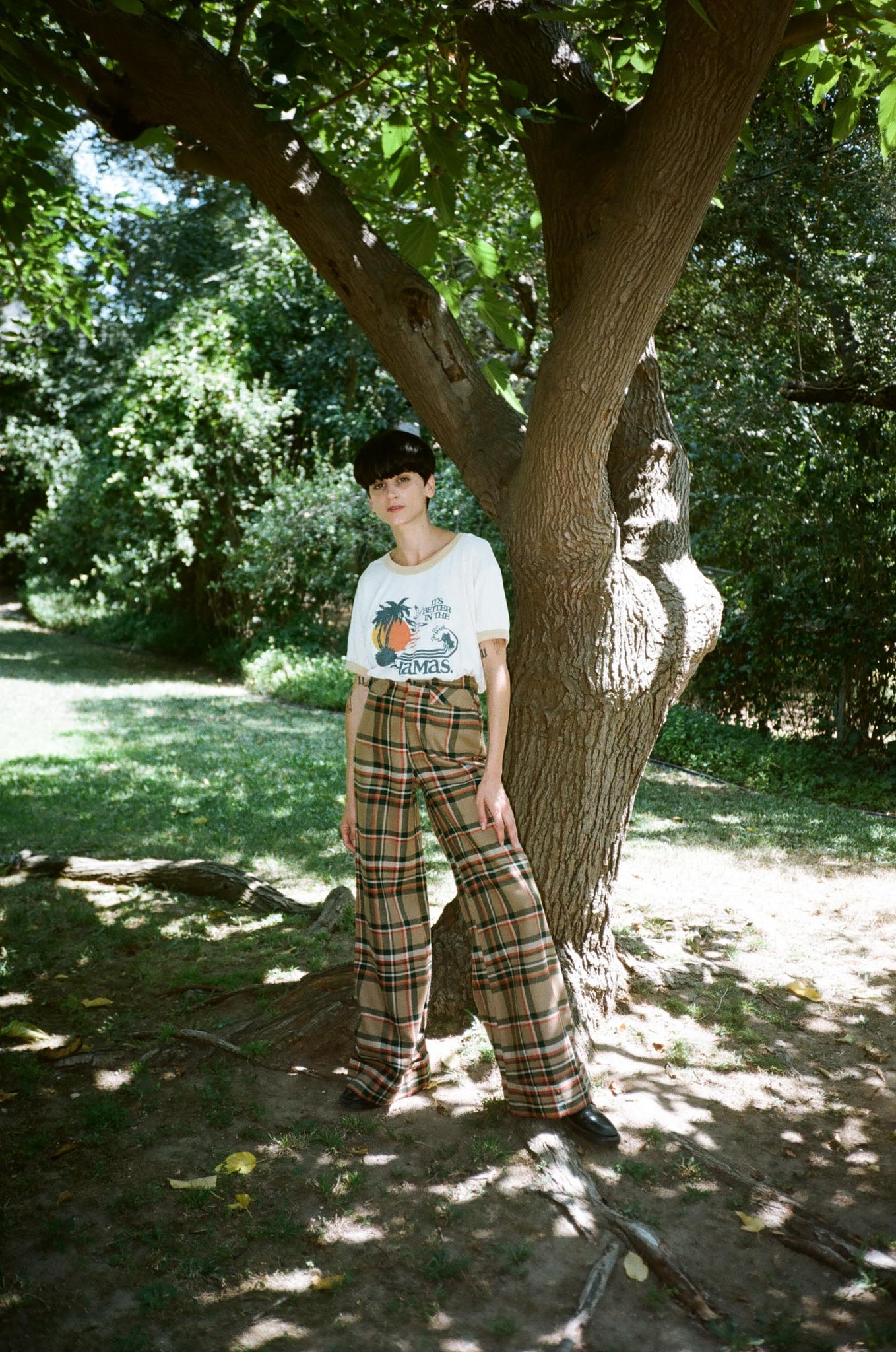 vintage 1970s 70s high waisted plaid wide leg elephant flared pants trousers