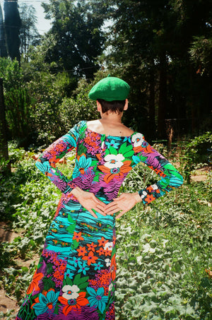 vintage 1970s 70s full length maxi psychedelic acid trip floral dress